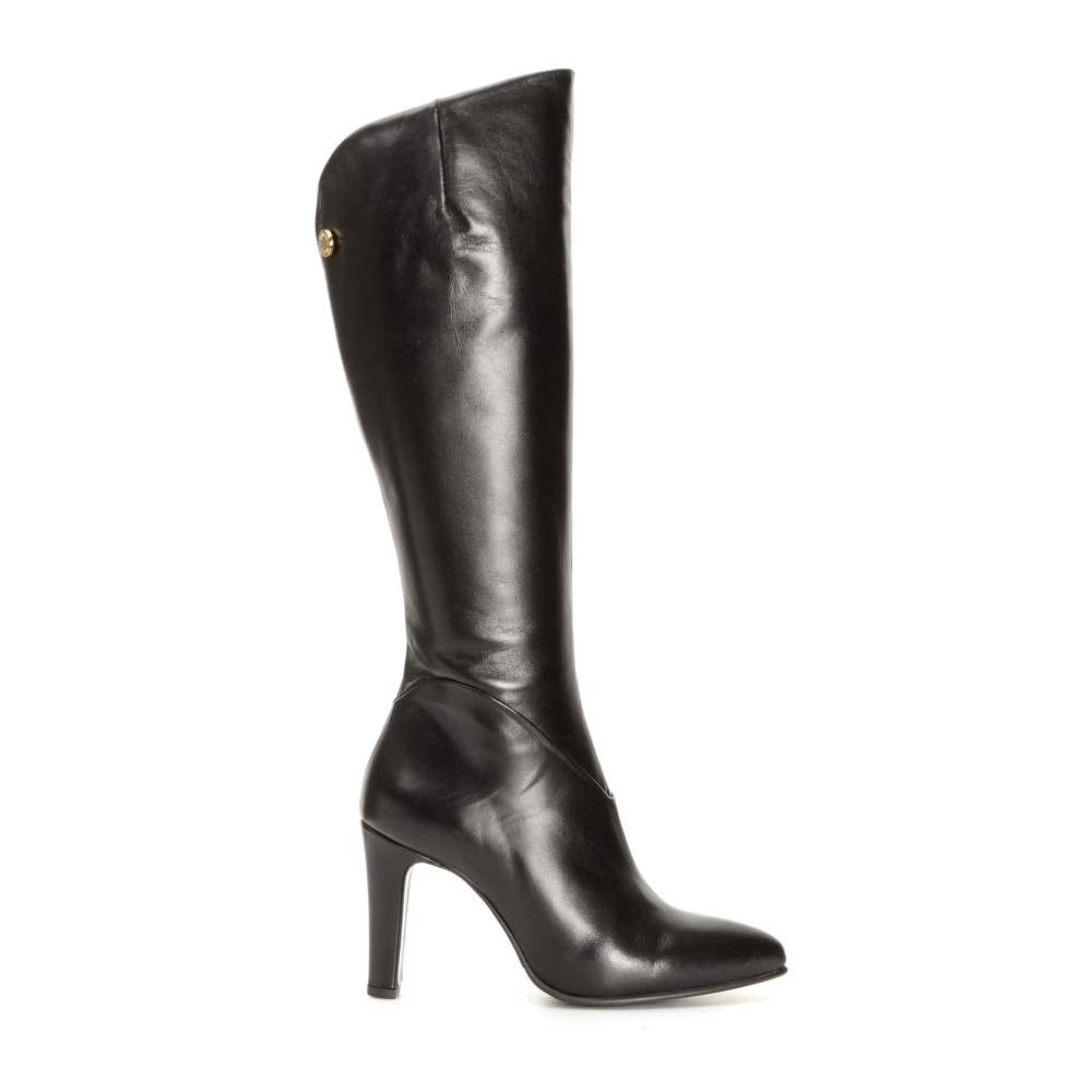 Hayley Black Leather Over Knee Boots 39